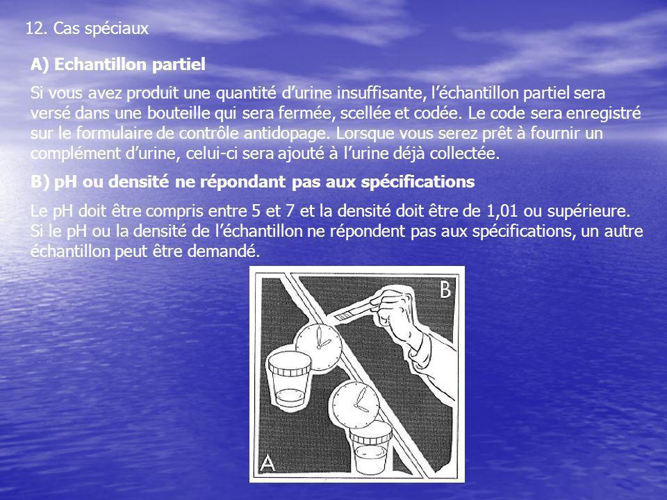 12. Cas spéciaux A) Echantillon partiel Si vous avez produit une quantité durine insuffisante, léchantillon partiel sera versé dans une bouteille qui