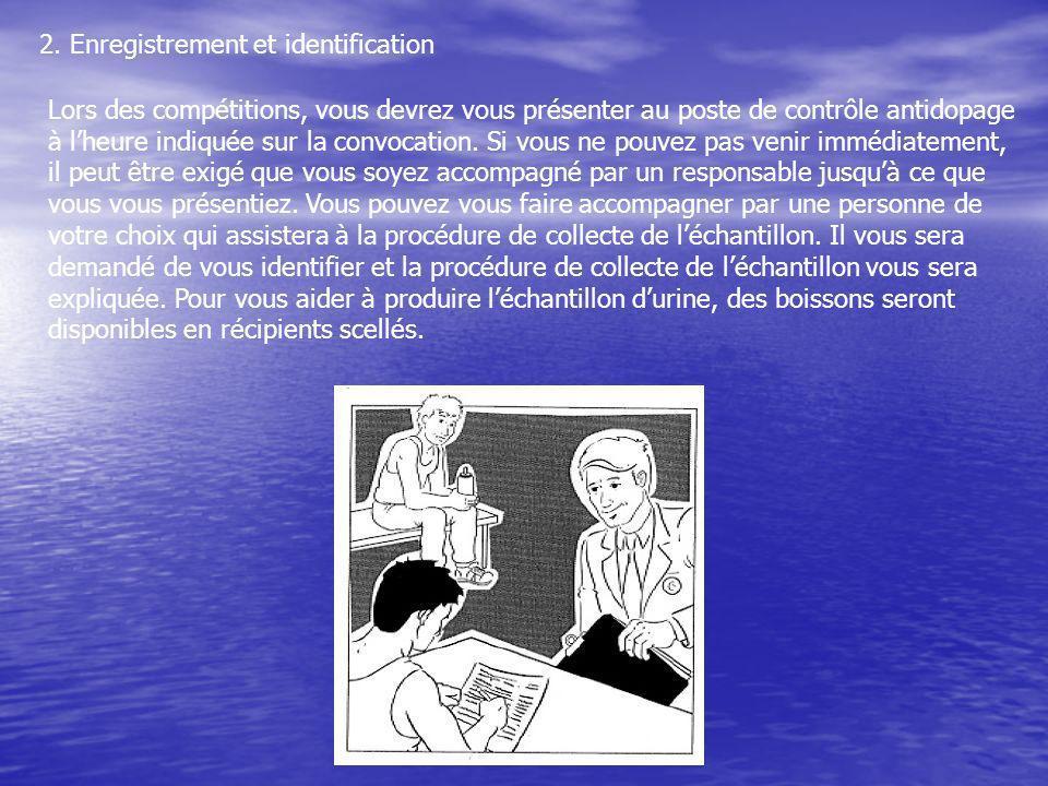 2. Enregistrement et identification Lors des compétitions, vous devrez vous présenter au poste de contrôle antidopage à lheure indiquée sur la convoca