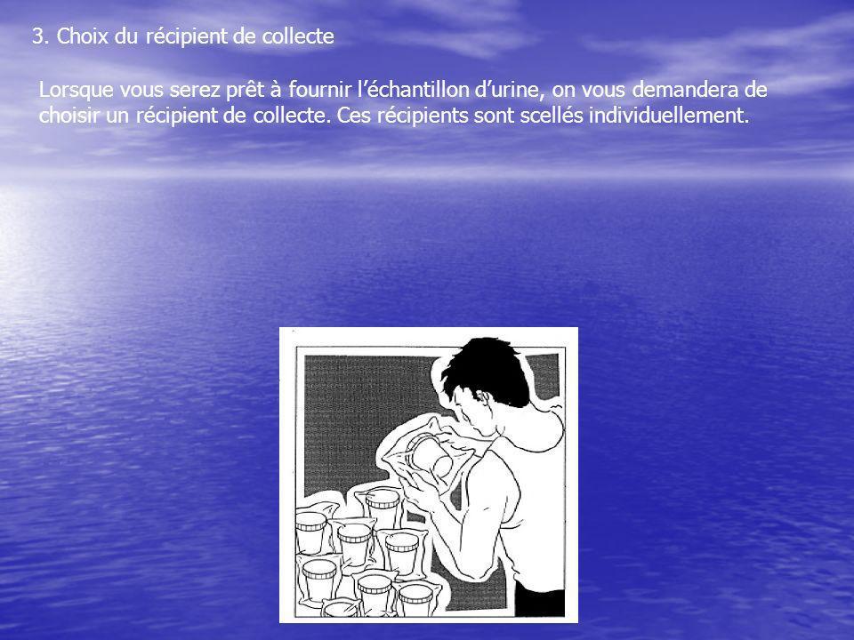 3. Choix du récipient de collecte Lorsque vous serez prêt à fournir léchantillon durine, on vous demandera de choisir un récipient de collecte. Ces ré