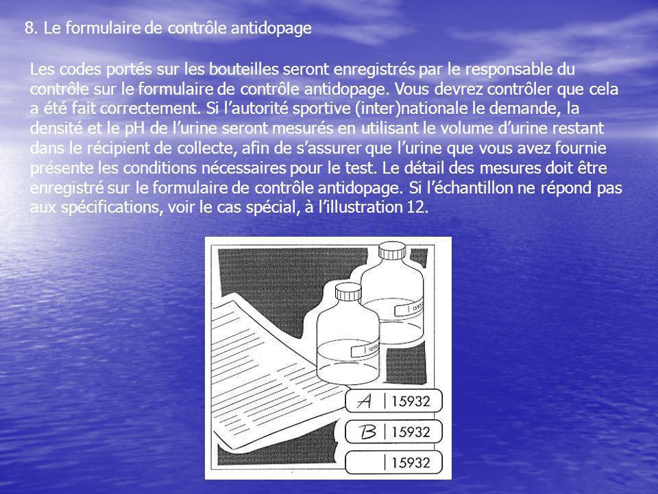 8. Le formulaire de contrôle antidopage Les codes portés sur les bouteilles seront enregistrés par le responsable du contrôle sur le formulaire de con
