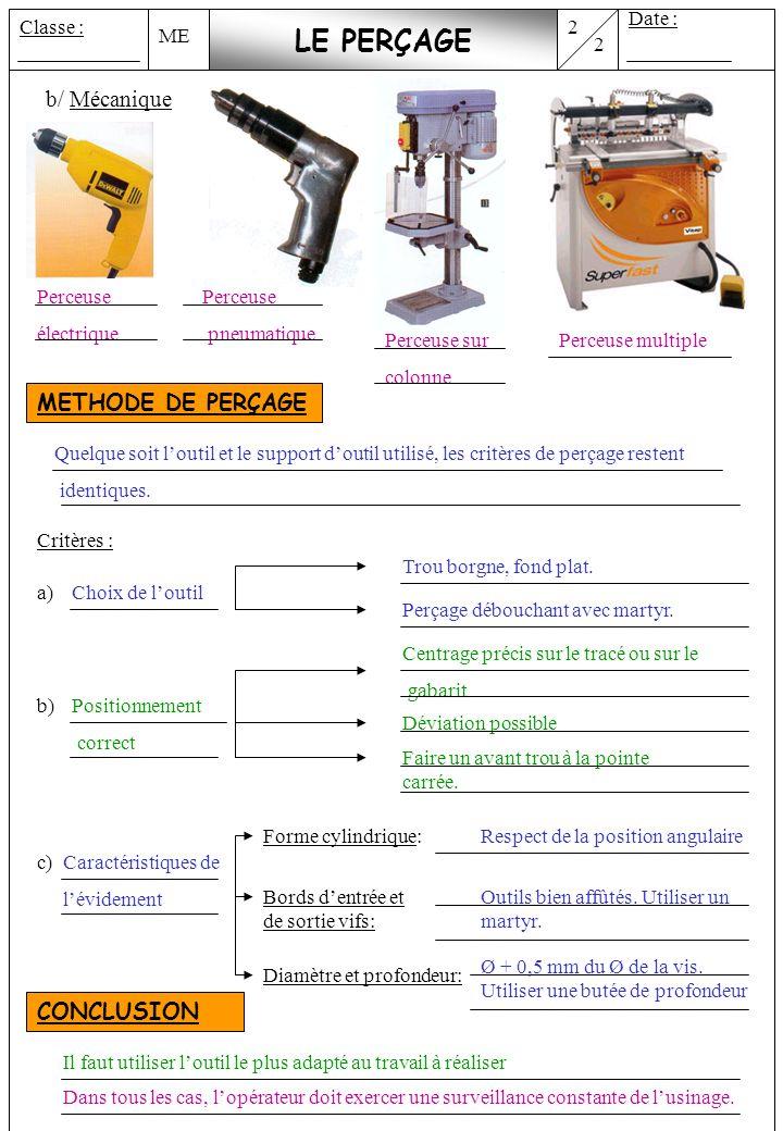 ME 2 Date : Classe : 2 LE PERÇAGE b/ Mécanique METHODE DE PERÇAGE Quelque soit loutil et le support doutil utilisé, les critères de perçage restent id