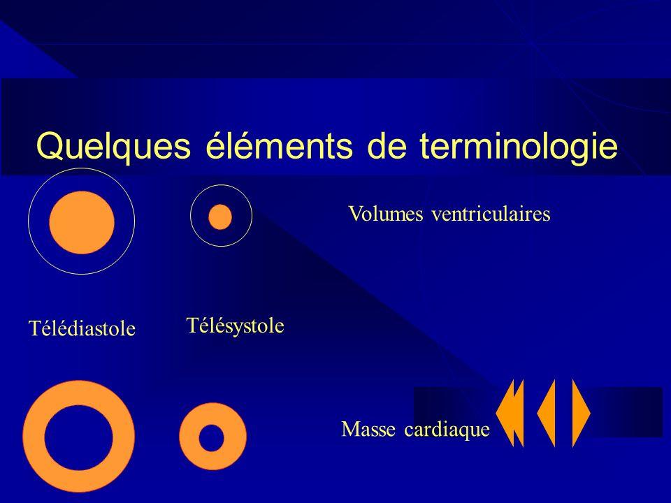 Quelques éléments de terminologie Télédiastole Télésystole Volumes ventriculaires Masse cardiaque
