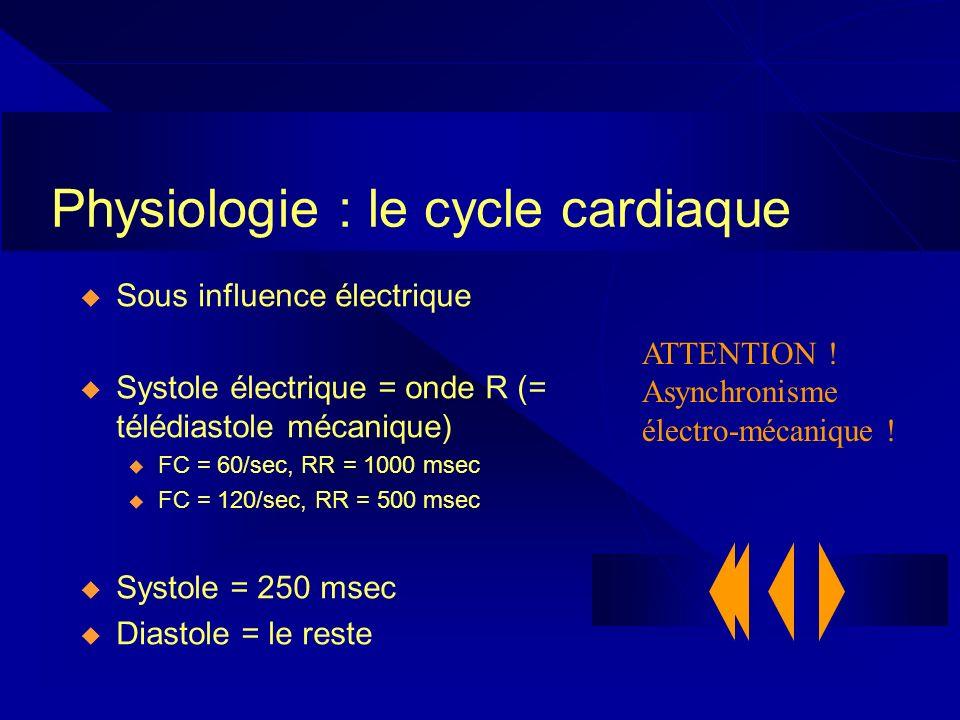 Physiologie : le cycle cardiaque Sous influence électrique Systole électrique = onde R (= télédiastole mécanique) u FC = 60/sec, RR = 1000 msec u FC =