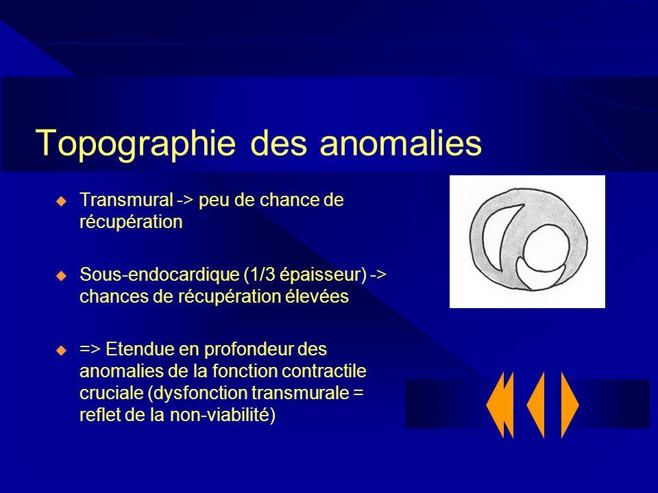 Topographie des anomalies Transmural -> peu de chance de récupération Sous-endocardique (1/3 épaisseur) -> chances de récupération élevées => Etendue
