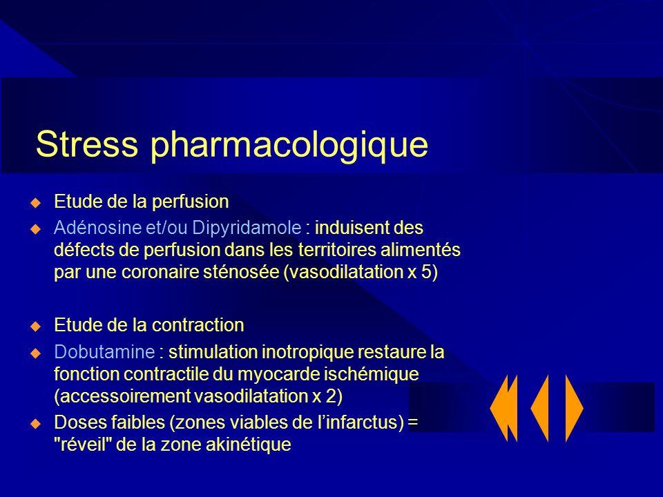 Stress pharmacologique Etude de la perfusion Adénosine et/ou Dipyridamole : induisent des défects de perfusion dans les territoires alimentés par une