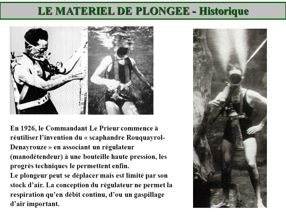 Les « palettes », ancêtres des palmes (Cdt De Corlieu – 1920) Le Prieur conçoit également le masque respiratoire et équipe le plongeur de nombreuses inventions, vêtement isothermique, lampe étanche etc..