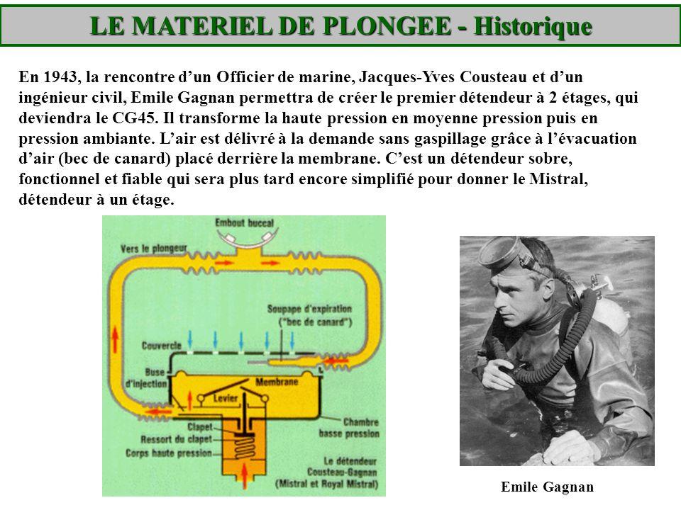 LE MATERIEL DE PLONGEE - Historique En 1943, la rencontre dun Officier de marine, Jacques-Yves Cousteau et dun ingénieur civil, Emile Gagnan permettra