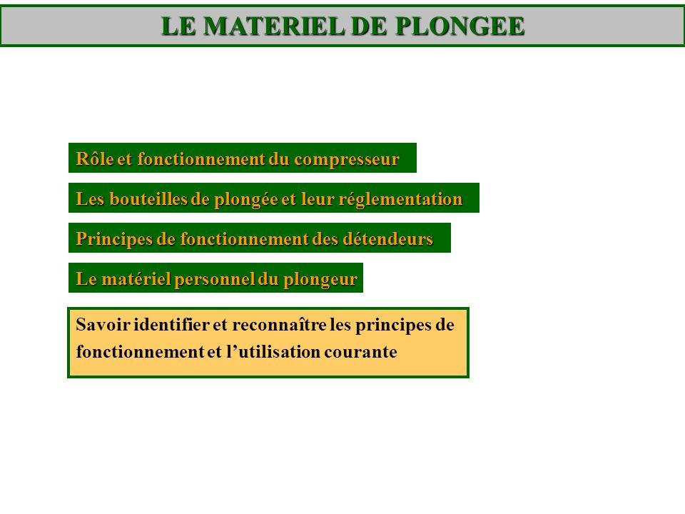 LE MATERIEL DE PLONGEE – La bouteille Le « tube » plongeur Le robinet de conservation