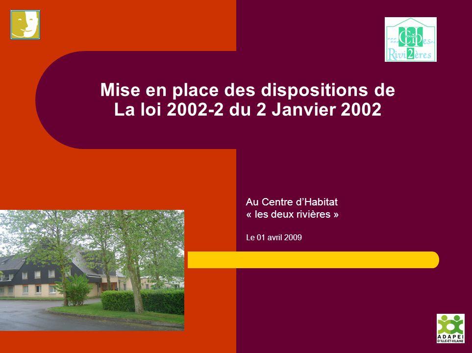 Mise en place des dispositions de La loi 2002-2 du 2 Janvier 2002 Au Centre dHabitat « les deux rivières » Le 01 avril 2009