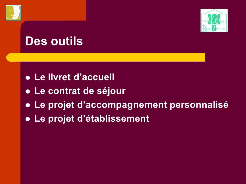 Des outils Le livret daccueil Le contrat de séjour Le projet daccompagnement personnalisé Le projet détablissement