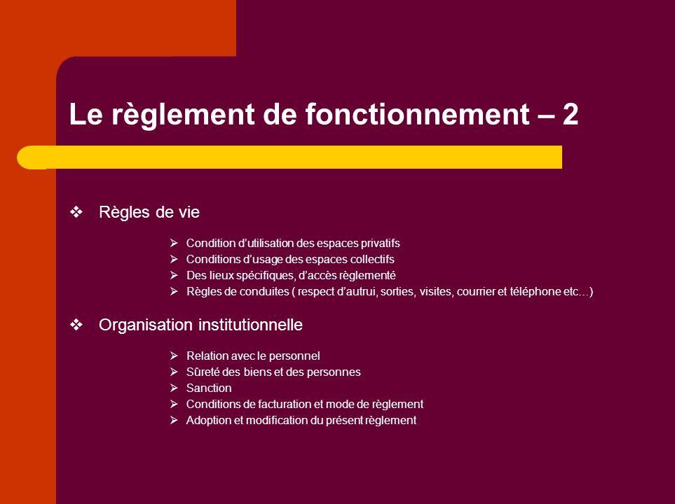 Le règlement de fonctionnement – 2 Règles de vie Condition dutilisation des espaces privatifs Conditions dusage des espaces collectifs Des lieux spéci