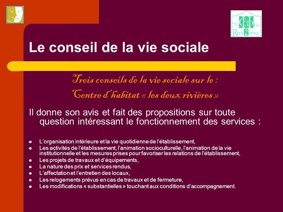 Le conseil de la vie sociale Trois conseils de la vie sociale sur le : Centre dhabitat « les deux rivières » Il donne son avis et fait des proposition