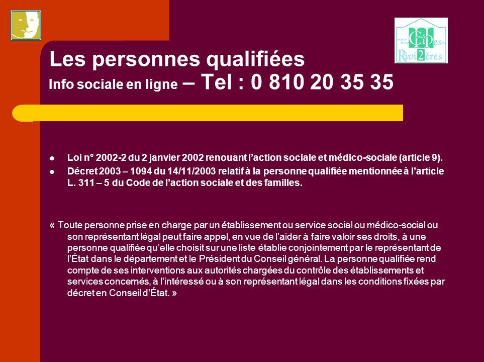 Les personnes qualifiées Info sociale en ligne – Tel : 0 810 20 35 35 Loi n° 2002-2 du 2 janvier 2002 renouant laction sociale et médico-sociale (arti