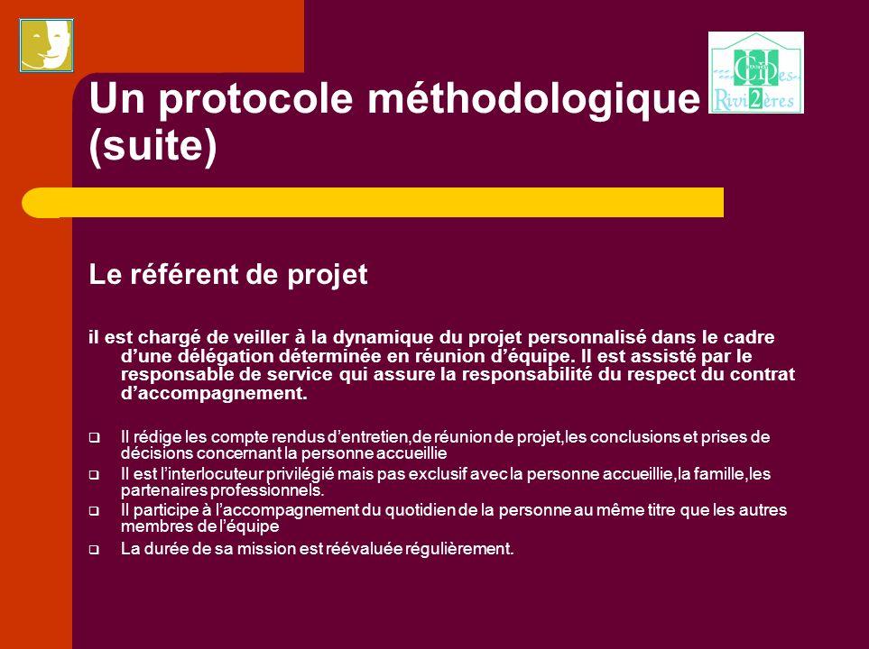 Un protocole méthodologique (suite) Le référent de projet il est chargé de veiller à la dynamique du projet personnalisé dans le cadre dune délégation
