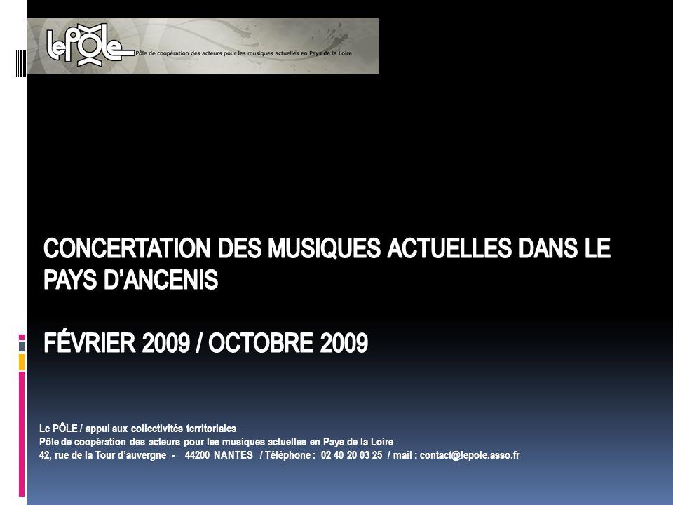Le PÔLE / appui aux collectivités territoriales Pôle de coopération des acteurs pour les musiques actuelles en Pays de la Loire 42, rue de la Tour dauvergne - 44200 NANTES / Téléphone : 02 40 20 03 25 / mail : contact@lepole.asso.fr