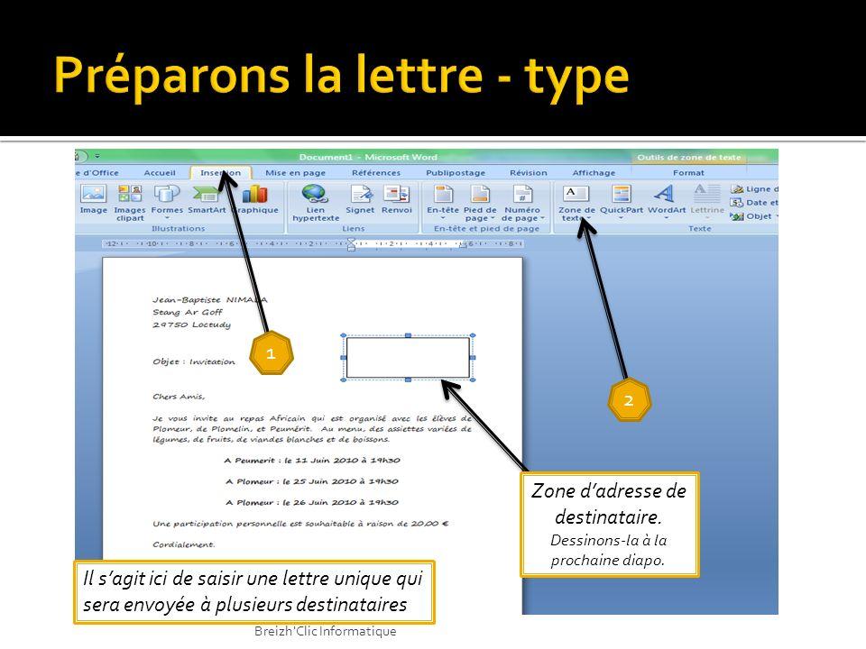 1 1 2 2 3 3 Insertion Zone de texte Dessiner une zone de texte Insertion Zone de texte Dessiner une zone de texte Breizh Clic Informatique
