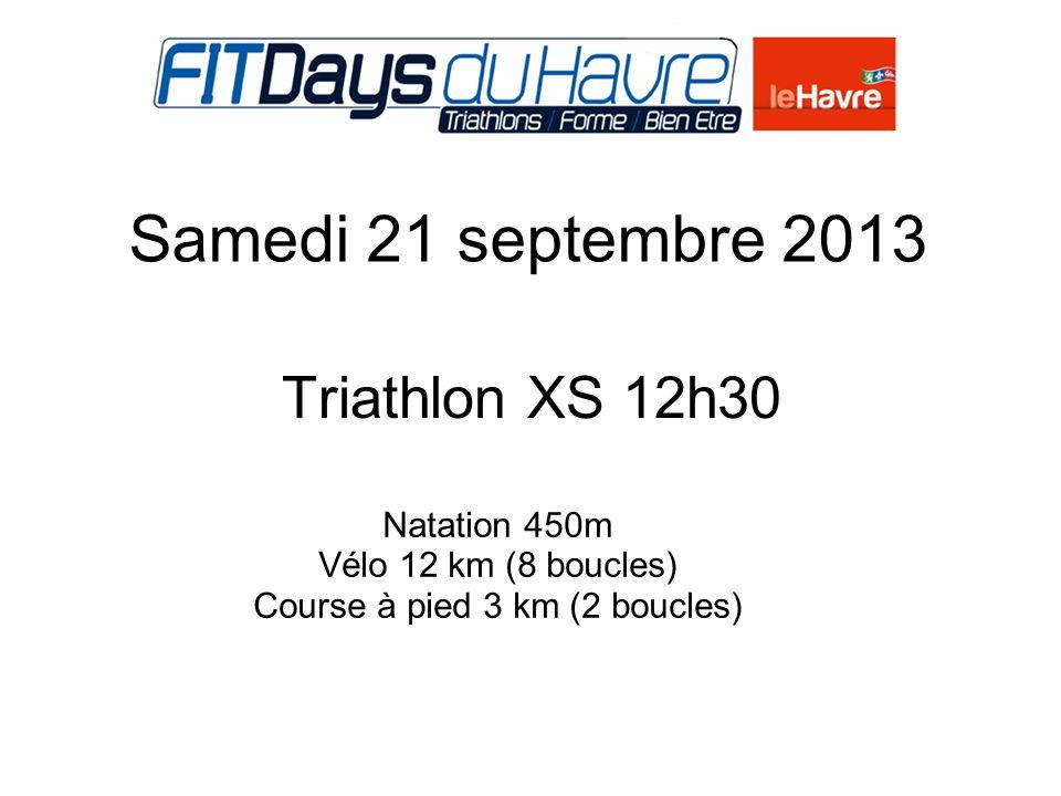 Dimanche 22 septembre 2013 Triathlon élite 14h15 à 14h50 2020 Natation 450m Vélo 12 km (8 boucles) Course à pied 3 km (2 boucles)