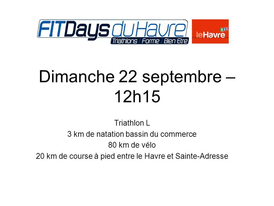 225m natation 6 km vélo (4 boucles) 1,5 km course à pied (1 boucle)