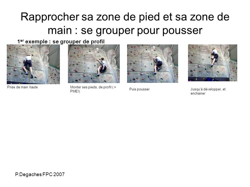 P.Degaches FPC 2007 Rapprocher sa zone de pied et sa zone de main : se grouper pour pousser 1 er exemple : se grouper de profil Prise de main hauteMon