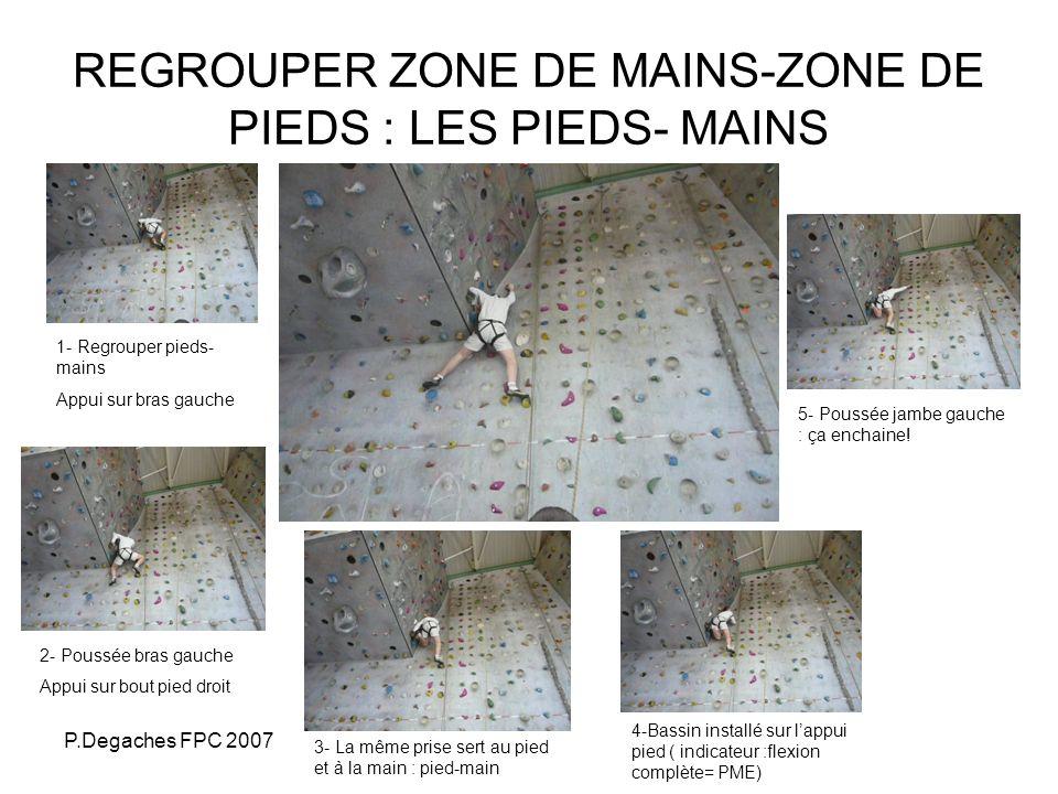 P.Degaches FPC 2007 SITUATION DE REFERENCE Situation avec couloirs interdits ( zones verticales interdites) Grimper en passant dune zone 1 à une zone 3 ( Ex: Sur une montée, passer obligatoirement 3 fois dune zone à lautre, et effectuer au moins 3 pas en verticale dans chaque zone) Couplée ou non avec des zones qui nécessitent un groupé-dégroupé : par la délimitation despaces « prises interdites » en bandes horizontales Avec survalorisation de prises pieds-mains : exemple de consigne : mêmes prises pour les pieds et les mains : les pieds ne peuvent se poser que là où se sont posé les mains.