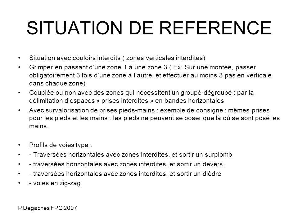 P.Degaches FPC 2007 SITUATION DE REFERENCE Situation avec couloirs interdits ( zones verticales interdites) Grimper en passant dune zone 1 à une zone