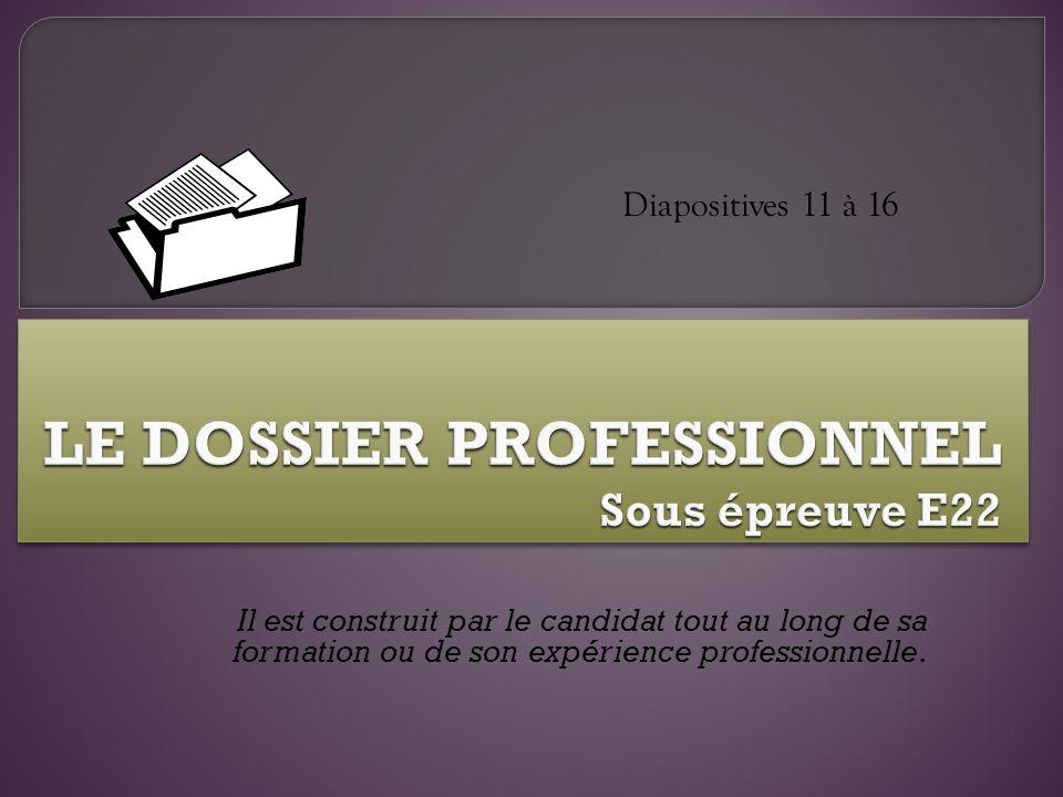 Il est construit par le candidat tout au long de sa formation ou de son expérience professionnelle. Diapositives 11 à 16