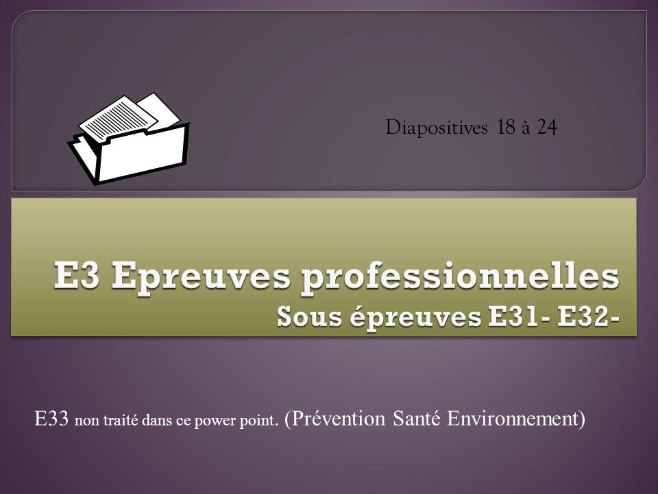 Diapositives 18 à 24 E33 non traité dans ce power point. (Prévention Santé Environnement)