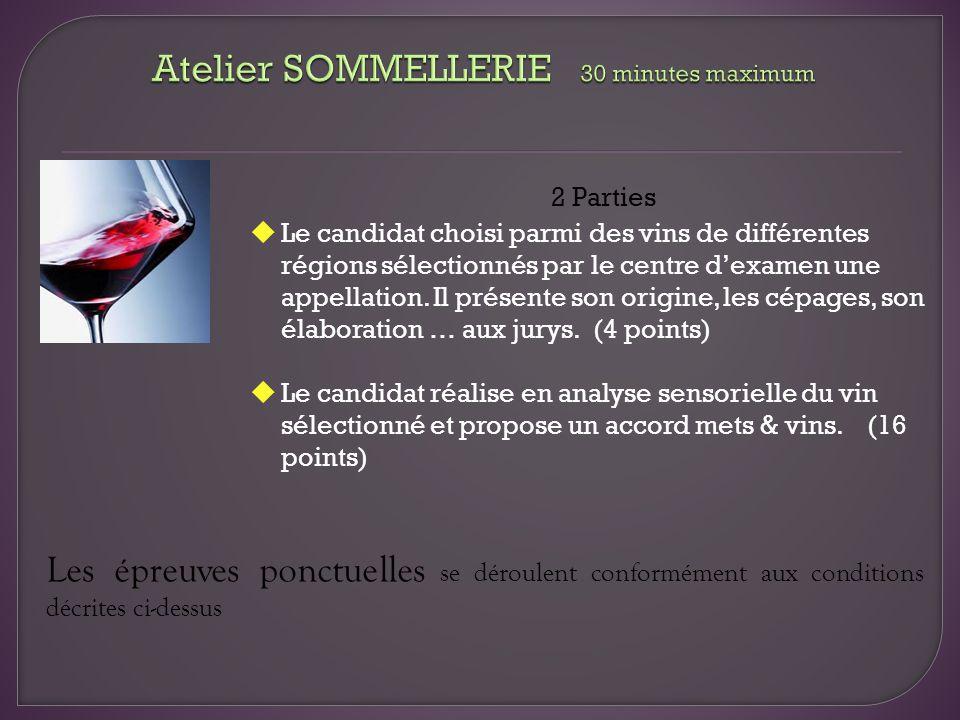 2 Parties Le candidat choisi parmi des vins de différentes régions sélectionnés par le centre dexamen une appellation. Il présente son origine, les cé