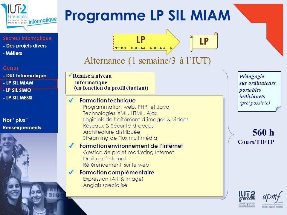 Secteur informatique - Des projets divers - Métiers Cursus - DUT Informatique - LP SIL MIAM - LP SIL SIMO - LP SIL MESSI Nos plus Renseignements Licen