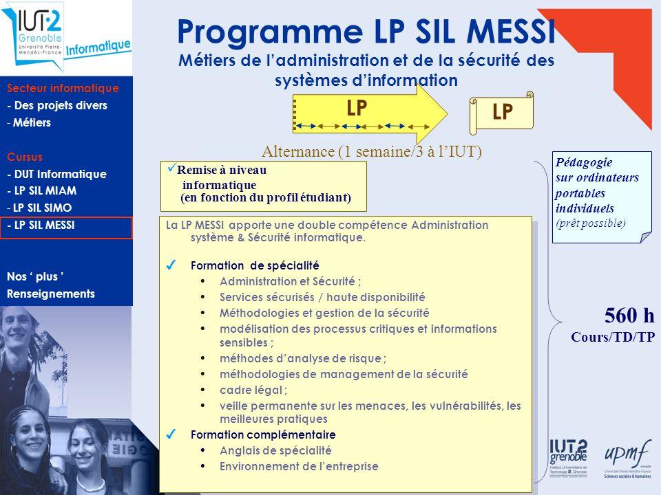 Secteur informatique - Des projets divers - Métiers Cursus - DUT Informatique - LP SIL MIAM - LP SIL SIMO - LP SIL MESSI Nos plus Renseignements Progr