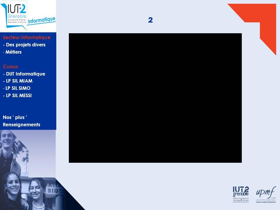 Secteur informatique - Des projets divers - Métiers Cursus - DUT Informatique - LP SIL MIAM - LP SIL SIMO - LP SIL MESSI Nos plus Renseignements Infor