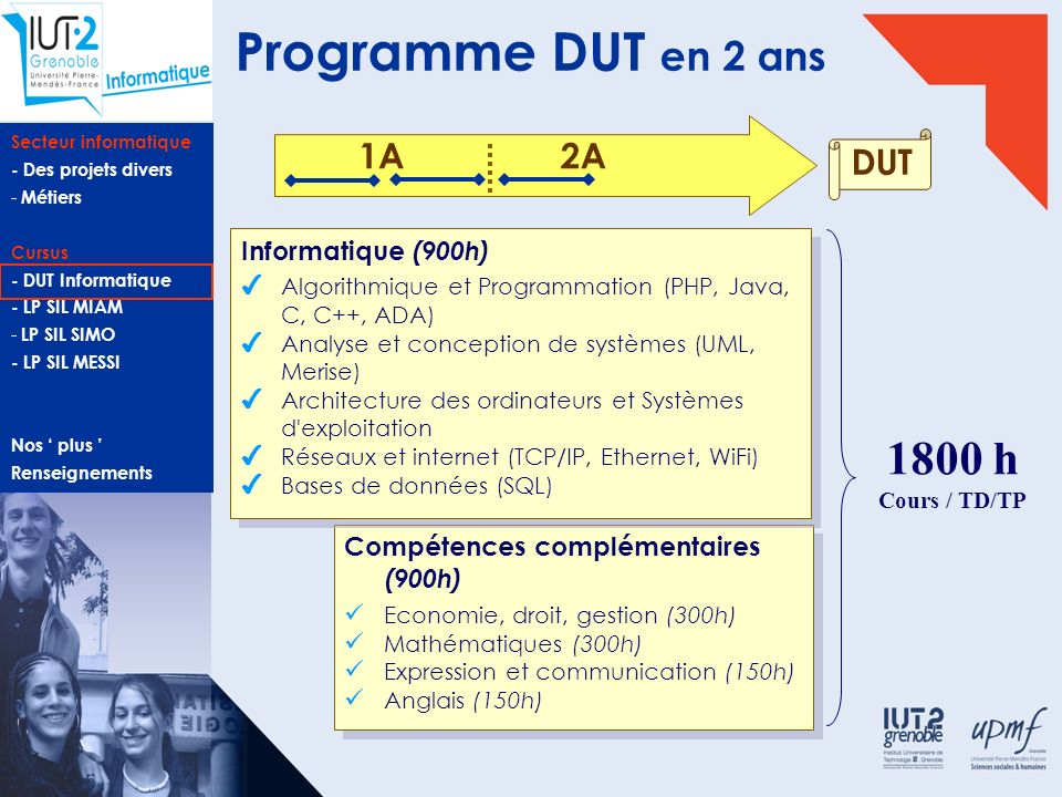 Secteur informatique - Des projets divers - Métiers Cursus - DUT Informatique - LP SIL MIAM - LP SIL SIMO - LP SIL MESSI Nos plus Renseignements Admission en Licence Professionnelle