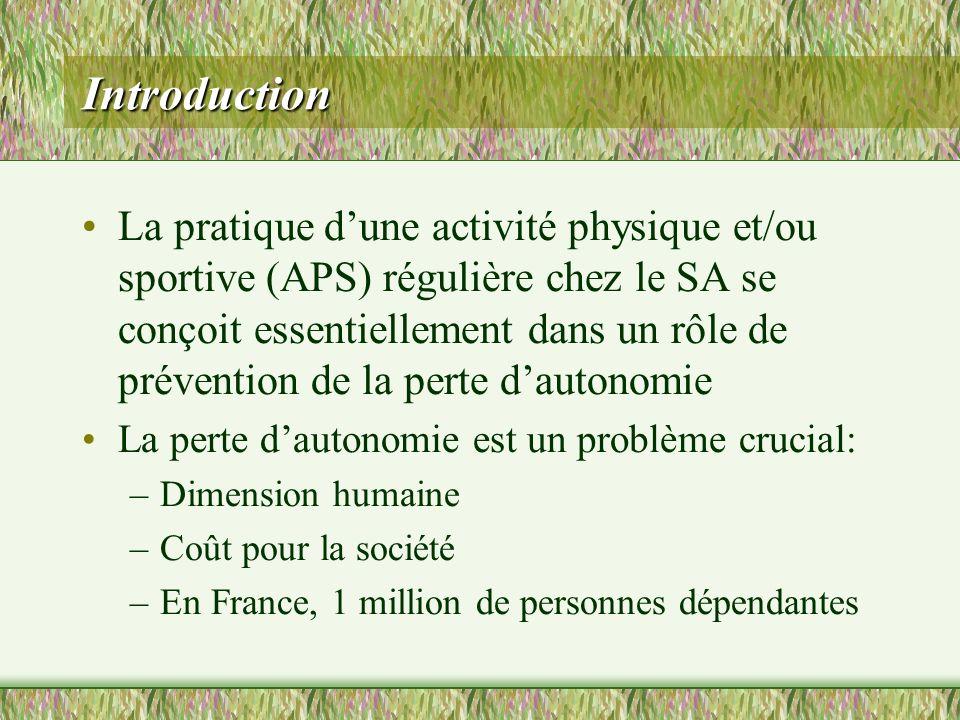 Introduction La pratique dune activité physique et/ou sportive (APS) régulière chez le SA se conçoit essentiellement dans un rôle de prévention de la