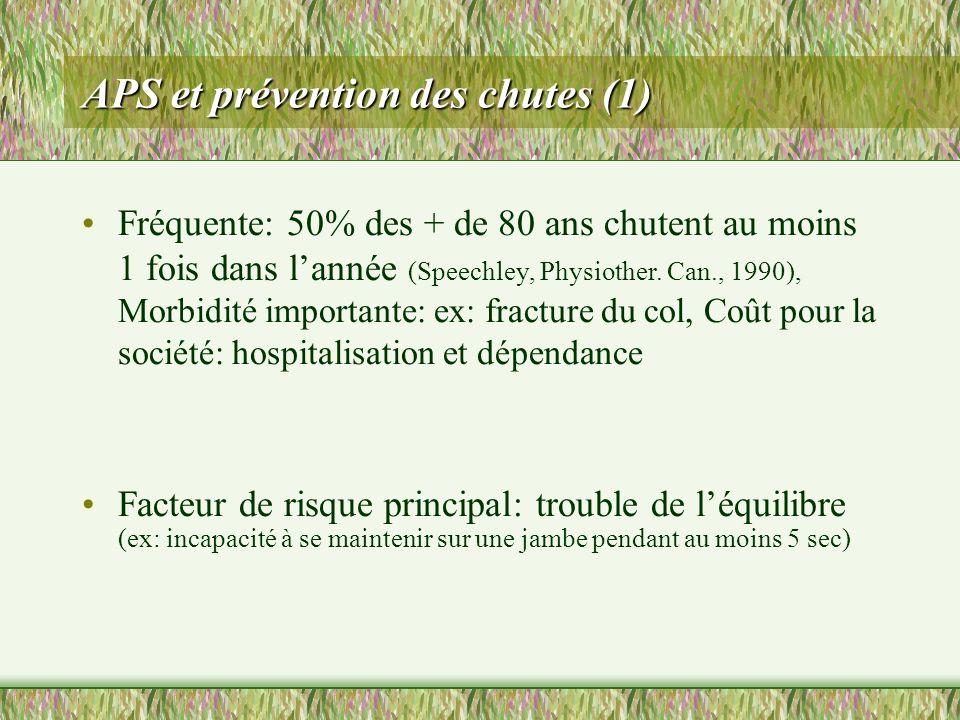 APS et prévention des chutes (1) Fréquente: 50% des + de 80 ans chutent au moins 1 fois dans lannée (Speechley, Physiother. Can., 1990), Morbidité imp