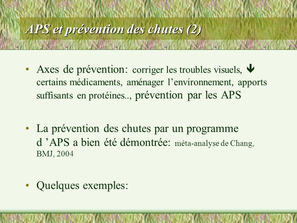 APS et prévention des chutes (2) Axes de prévention: corriger les troubles visuels, certains médicaments, aménager lenvironnement, apports suffisants