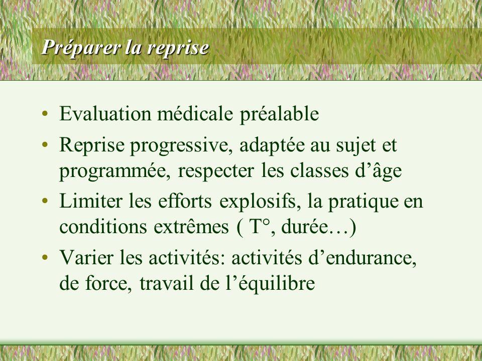 Préparer la reprise Evaluation médicale préalable Reprise progressive, adaptée au sujet et programmée, respecter les classes dâge Limiter les efforts
