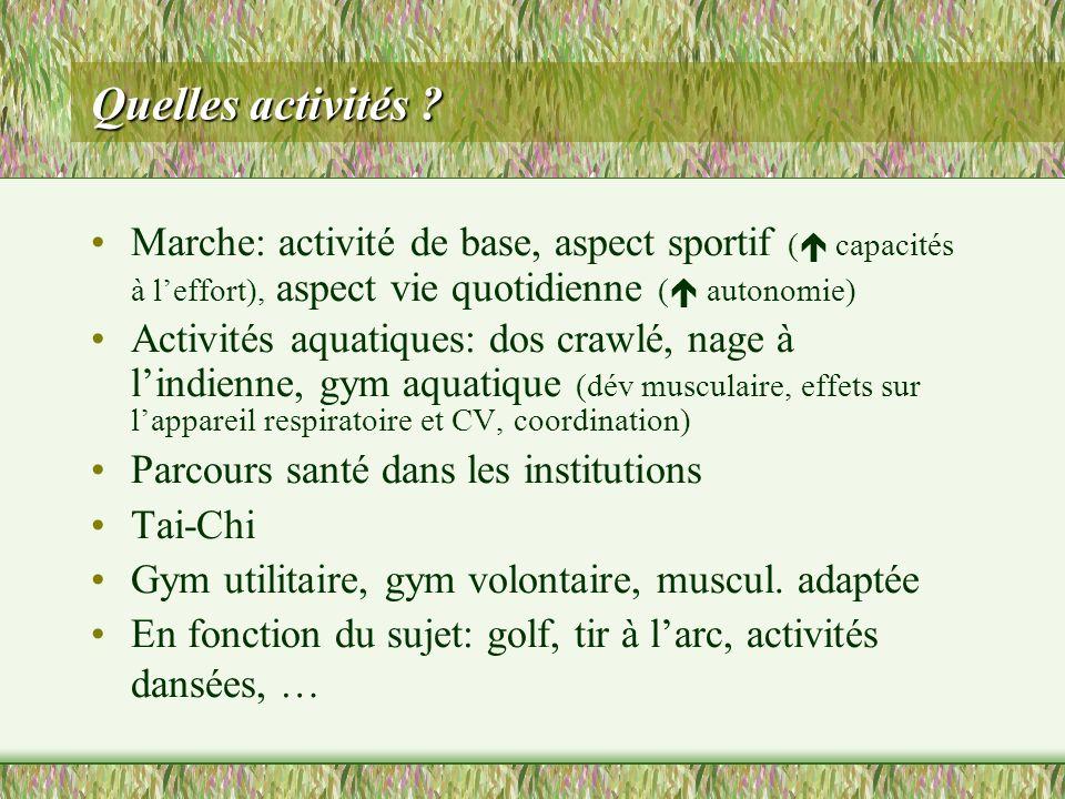 Quelles activités ? Marche: activité de base, aspect sportif ( capacités à leffort), aspect vie quotidienne ( autonomie) Activités aquatiques: dos cra