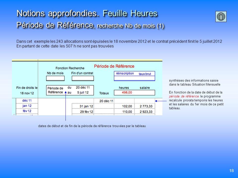 18 Notions approfondies. Feuille Heures Période de Référence, recherche Nb de mois (1) Dans cet exemple les 243 allocations sont épuisées le 18 novemb