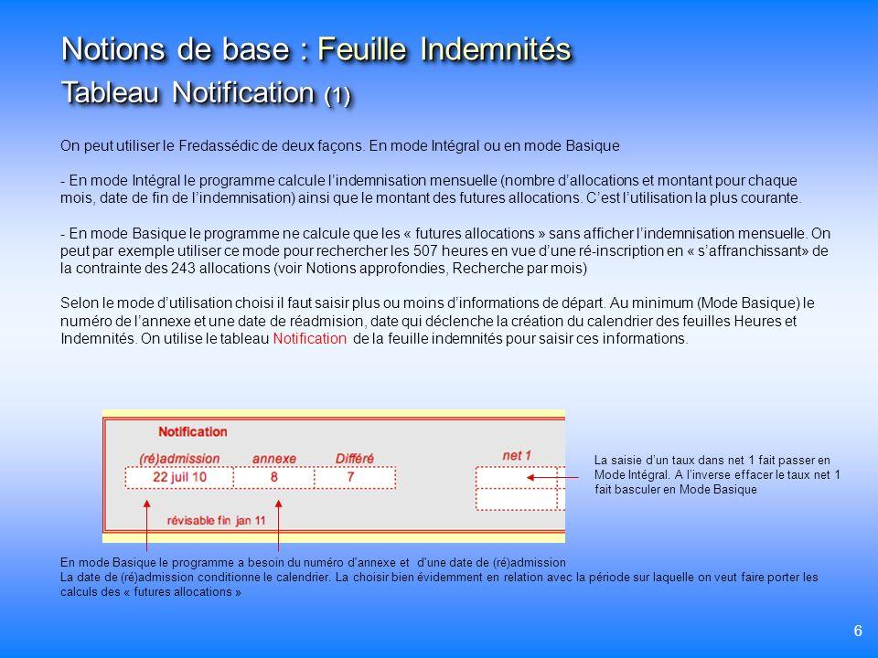6 On peut utiliser le Fredassédic de deux façons. En mode Intégral ou en mode Basique - En mode Intégral le programme calcule lindemnisation mensuelle