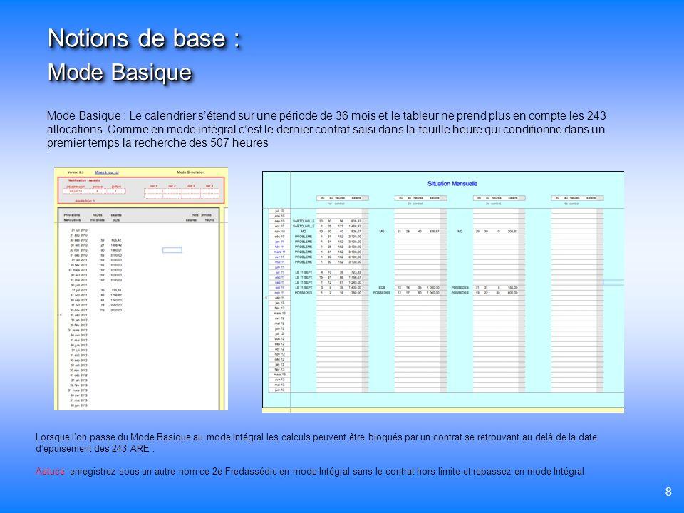 8 Mode Basique Notions de base : Mode Basique : Le calendrier sétend sur une période de 36 mois et le tableur ne prend plus en compte les 243 allocati