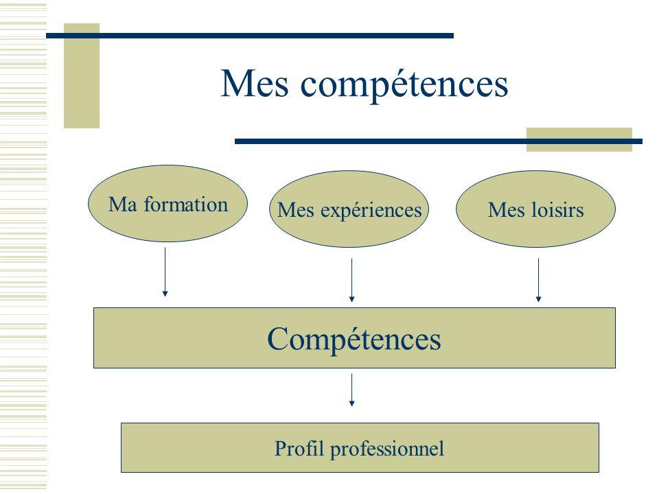 Mes compétences Ma formation Mes expériencesMes loisirs Compétences Profil professionnel