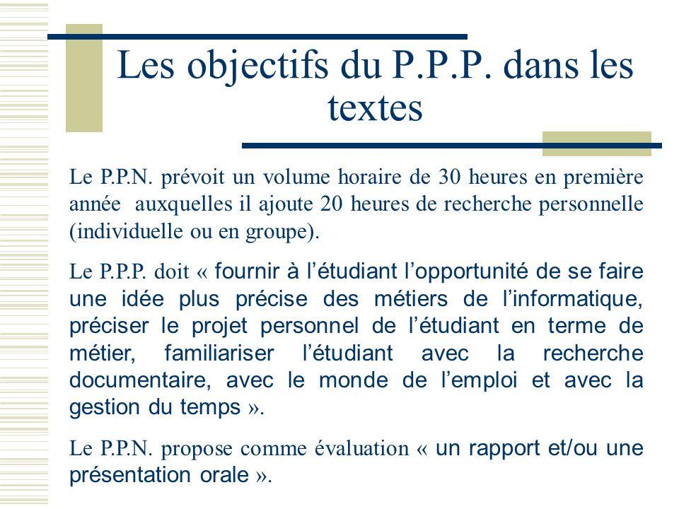 Les objectifs du P.P.P. dans les textes Le P.P.N. prévoit un volume horaire de 30 heures en première année auxquelles il ajoute 20 heures de recherche
