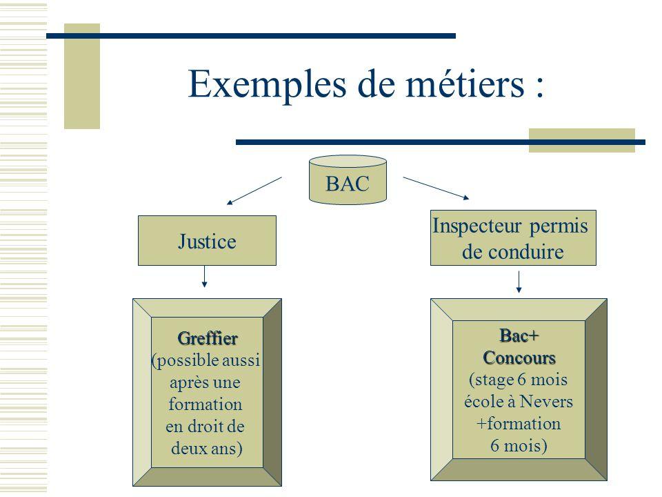 Exemples de métiers : BAC Justice Greffier (possible aussi après une formation en droit de deux ans) Inspecteur permis de conduire Bac+Concours (stage