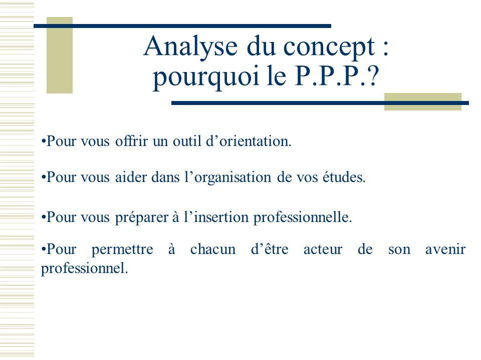 Analyse du concept : pourquoi le P.P.P.? Pour vous offrir un outil dorientation. Pour permettre à chacun dêtre acteur de son avenir professionnel. Pou