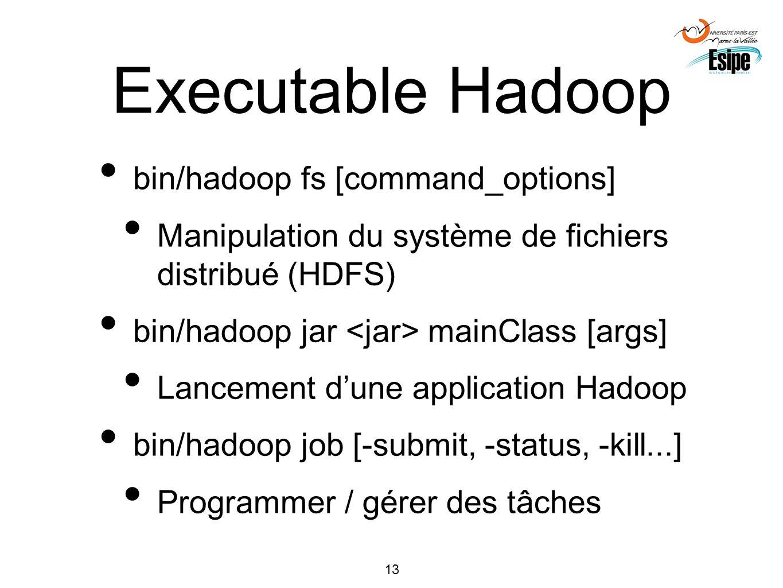 13 Executable Hadoop bin/hadoop fs [command_options] Manipulation du système de fichiers distribué (HDFS) bin/hadoop jar mainClass [args] Lancement du