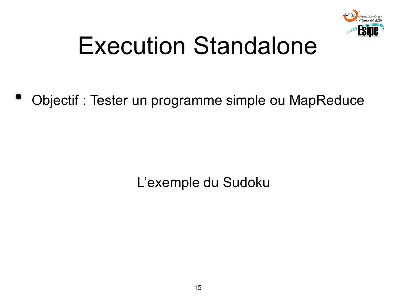 15 Execution Standalone Objectif : Tester un programme simple ou MapReduce Lexemple du Sudoku