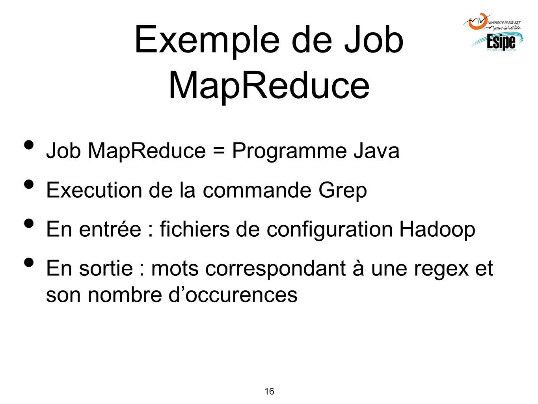 16 Exemple de Job MapReduce Job MapReduce = Programme Java Execution de la commande Grep En entrée : fichiers de configuration Hadoop En sortie : mots