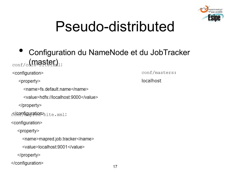17 Pseudo-distributed Configuration du NameNode et du JobTracker (master) conf/core-site.xml : fs.default.name hdfs://localhost:9000 conf/masters: loc