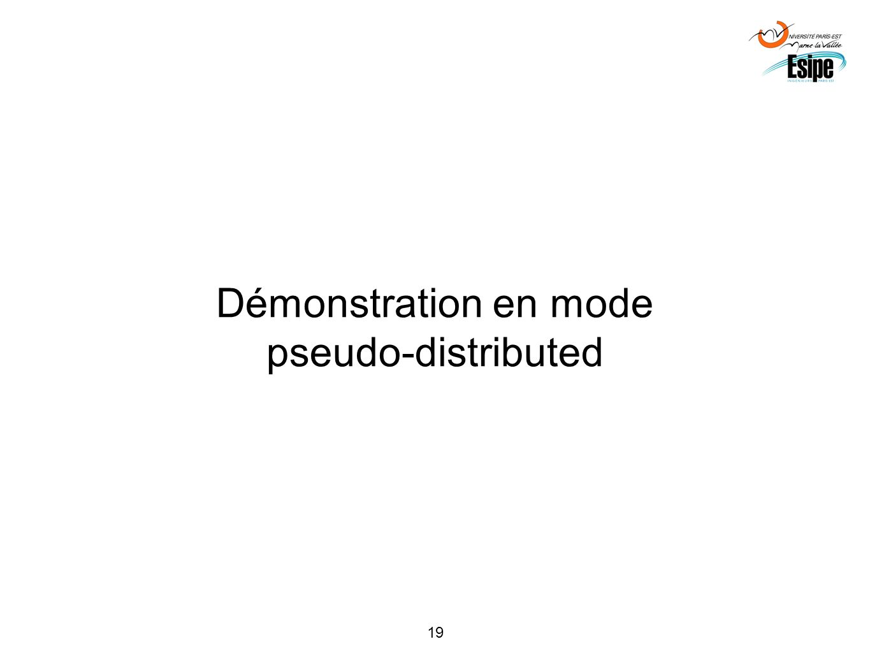 19 Démonstration en mode pseudo-distributed