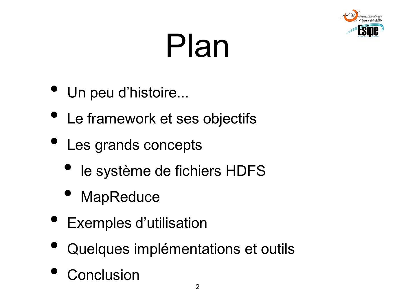 2 Plan Un peu dhistoire... Le framework et ses objectifs Les grands concepts le système de fichiers HDFS MapReduce Exemples dutilisation Quelques impl